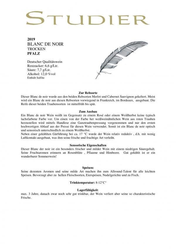 Blanc de Noir Weinbeschreibung