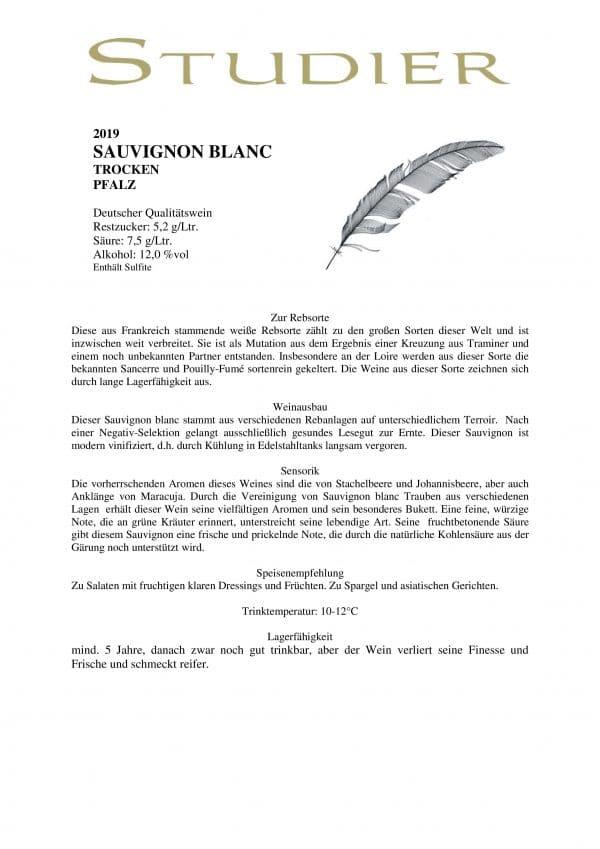 Sauvignon Blanc Weinbeschreibung